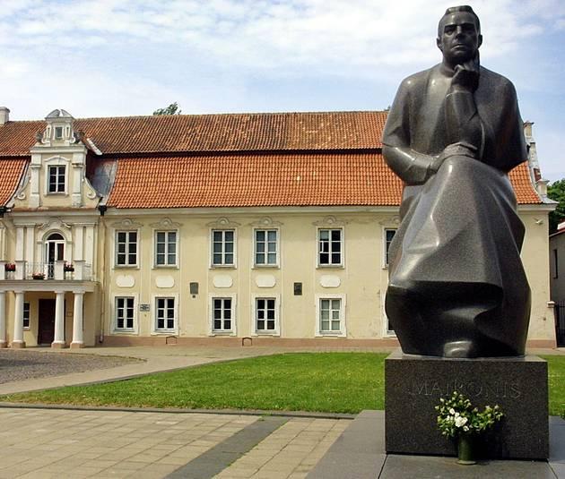 Monument to Maironis in front of his mansion (1977), by Gediminas Jokubonis, Kaunas.